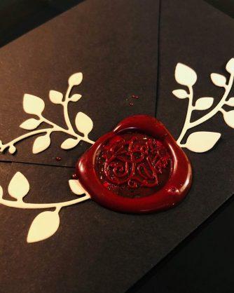 кафяв пли с червен восъчен печат