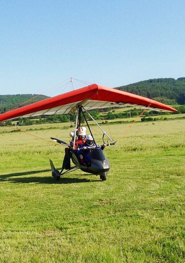 полет с мотоделтапланер